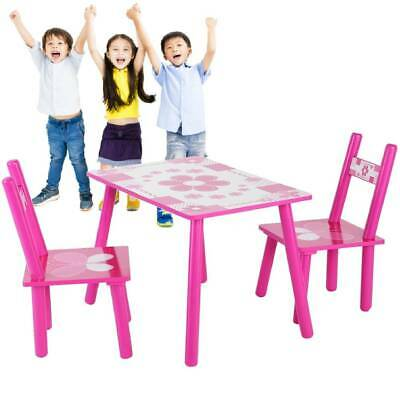 Kids Table And Chair Set Toddlers Wooden Play Furniture Nursery Desk Stool Wood • 28.99£