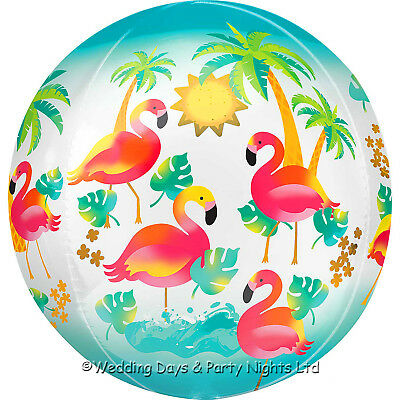 16  Orbz Hawaiian Flamingo Foil Helium Balloon Birthday / Luau Party Decorations • 1.95£