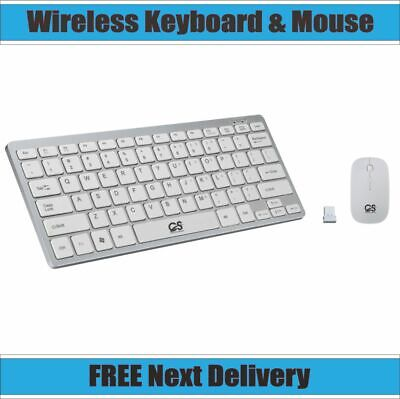 MINI WIRELESS 2.4GHZ WHITE KEYBOARD AND MOUSE COMBO FOR APPLE IMAC MACBOOK PRO • 14.49£