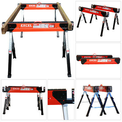 Excel EX - C700 Saw Horse Trestle Table Twin Pack Adjustable Leg Folding • 84.90£