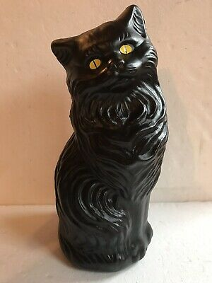 """$19.99 • Buy Blow Mold Halloween Black Cat Bank Decoration Yellow Eyes Union Products 17"""""""