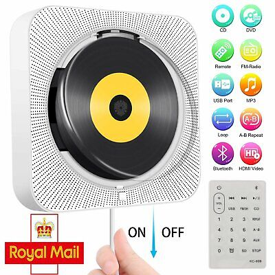 Portable CD Player Wall-Mounted Bluetooth Home Audio Boombox With Remote Control • 36.98£