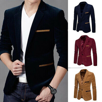 $ CDN26.70 • Buy Luxury Business Men's Blazer Jacket Slim Fit Tops Suit Tuxedo One Button Coat