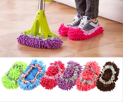 2pcs Chenille Micro Fibre Slippers Floor Cleaning Shoe Cover Mop Dust Sweeper • 3.48£