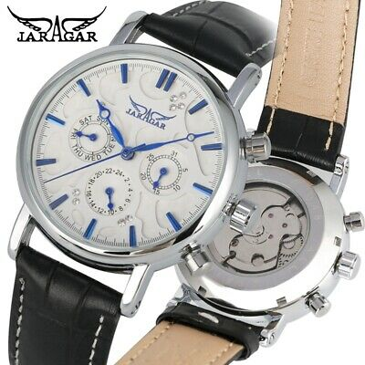 £17.99 • Buy JARAGAR Military Sport Men's Automatic Mechanical Watch Day Date Leather Band