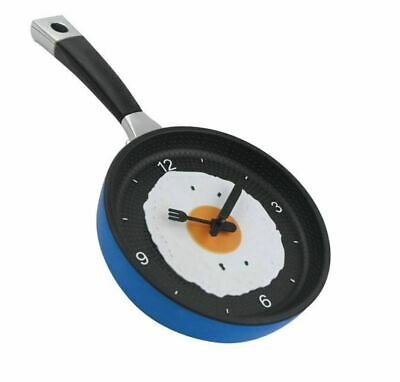 Frying Pan Clock Cutlery Egg Wall Hanging Analogue Home Kitchen Decor Novelty • 8.99£