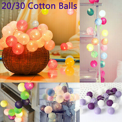 10/20/30 Cotton Balls LED Fairy String Lights Battery Operated Home Decor Lights • 5.99£