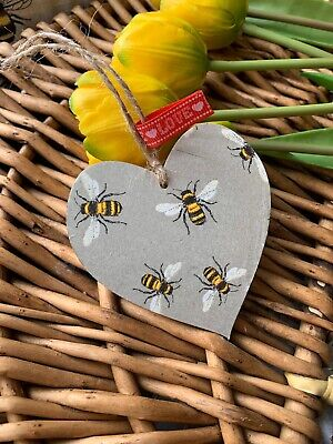 £2.99 • Buy SHABBY CHIC Decoupage Wooden Hanging Heart 8cm Bumble Bee Gift Grey