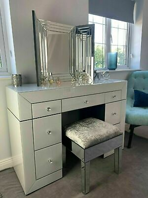 £136.49 • Buy Mirrored Furniture Glass White Dressing Table Bedroom Console Bevelled Venetian