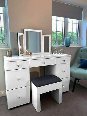 £136.49 • Buy White Mirrored Furniture Glass Dressing Table Bedroom Console Bevelled Venetian