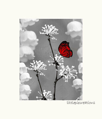 $16.99 • Buy Black White Red Butterfly Decorative Wall Art Home Decor Matted Wall Picture