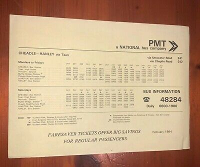 Potteries Pmt National Bus Company Timetable 241 242 Hanley Cheadle Longton 1984 • 3.49£