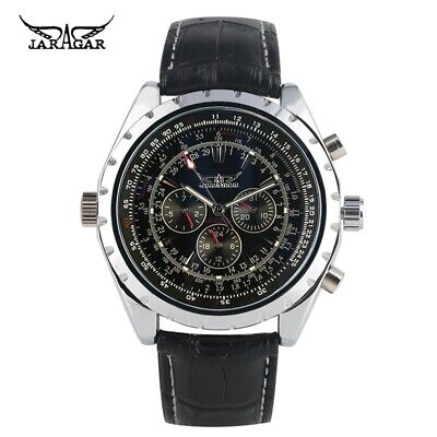 £17.66 • Buy JARAGAR Men Automatic Mechanical Watch Leather Band Date Military Wrist Watches