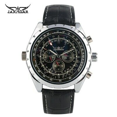 JARAGAR Men Automatic Mechanical Watch Leather Band Date Military Wrist Watches • 17.47£