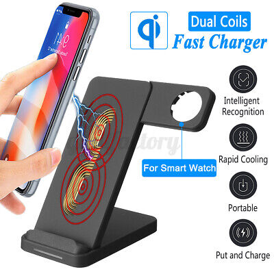 2in1 Universal QI Wireless Charger Phone Charging Dock For IPhone Apple Watch UK • 9.38£