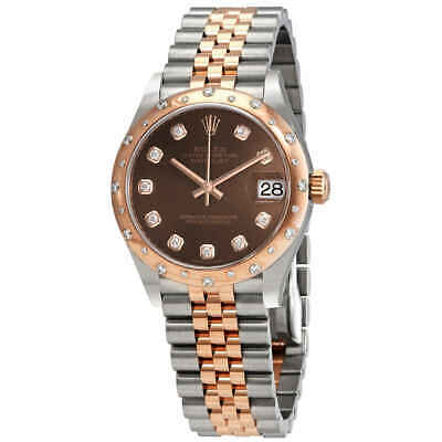 $ CDN21848.15 • Buy Rolex Datejust 31 Chocolate Diamond Dial Automatic Ladies Steel And 18kt Pink