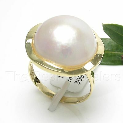 $380.95 • Buy 14k Solid Yellow Gold 15mm Genuine White Mabe Pearl Solitaire Ring TPJ