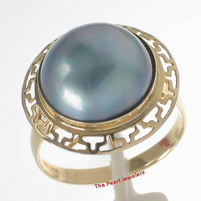 $296.95 • Buy 14k Solid Yellow Gold Greek Key Design 13-14mm Blue Mabe Pearl Wrap Ring TPJ