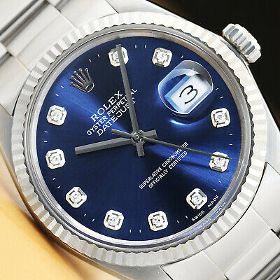 $ CDN5472.98 • Buy Mens Rolex Datejust Quickset 18k White Gold & Stainless Steel Blue Dial Watch