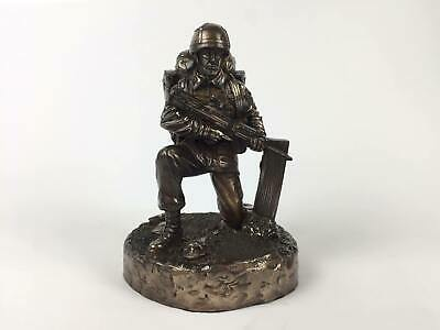 British Kneeling Soldier Cold Cast Bronze Military Statue Sculpture • 60£