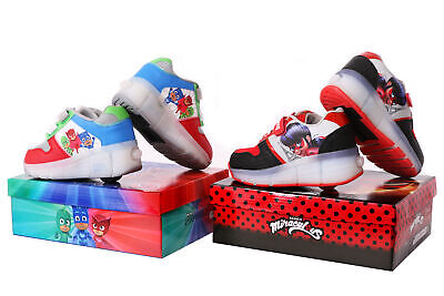 Childs Wheelie Trainers Flashing Led Lights Ladybug Pj Masks Roller Skate Shoes • 12.99£