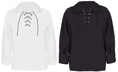 Lace Up Shirt Long Sleeve Black White Book Day Pirate Adults Kids Fancy Dress • 10.99£