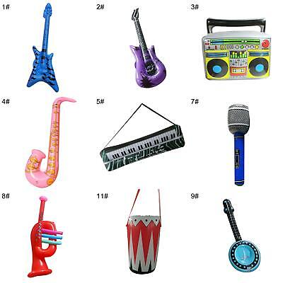 AM_ PVC Inflatable Guitar Microphone Lute Musical Instrument Kids Party Props To • 2.70£
