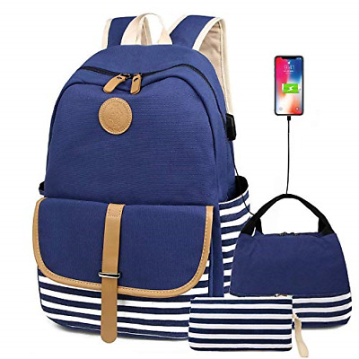 $41.24 • Buy Canvas Backpack School Backpack For Teen Girls/Women With USB Charging Port