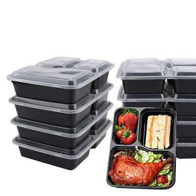 20x Food Containers Meal Prep BPA FREE Plastic 3 Compartment Lunch Box Lids • 10.98£