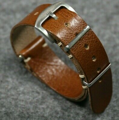 $20.99 • Buy Brown Watch Strap Military Style Italian Vintage Leather Watch Band 18 20 22 24m