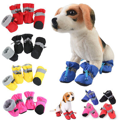 Winter Pet Dog Snow Boots Puppy Soft Anti-slip Warm Shoes Sneakers Booties 4 Pcs • 2.78£