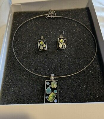 $ CDN51.88 • Buy Lia Sophia Necklace Earrings Silver Tone Blue Green Abstract RARE