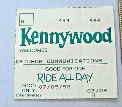 $7.95 • Buy Kennywood Welcomes Ketchum Communications Ride All Day Ticket Stub 07/09/93