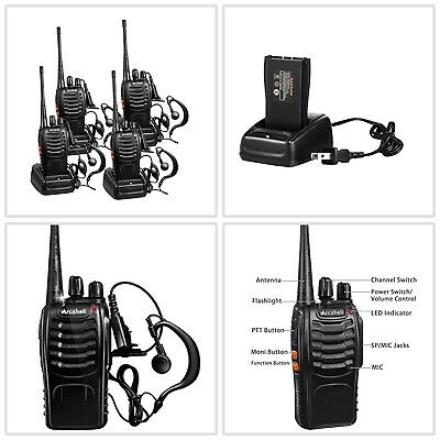 $ CDN82.18 • Buy Long Range Walkie Talkie 4 Set 5 Mile 2 Way Radio Charge Headset Waterproof UHF