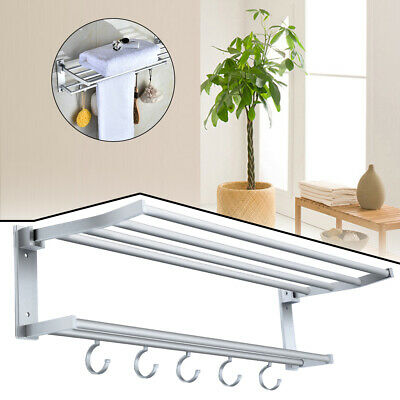 £8.89 • Buy Double Towel Rail Holder Wall Mounted Bathroom Rack Shelf With Hooks Stainless