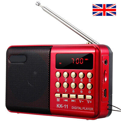 Portable FM Radio Speaker TF Card Music Player Rechargeable Battery W/ Antenna • 12.69£