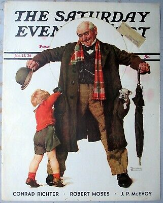 $ CDN16.08 • Buy ORIGINAL Norman Rockwell Saturday Evening Post Cover 1/25/1936  The Gift