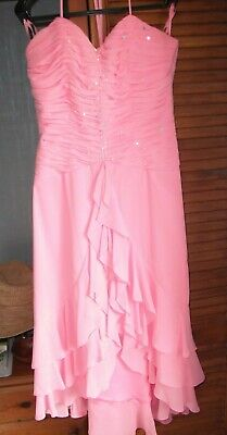 CORAL PINK BEAUTIFUL PROM/SUMMER BALL DRESS Size 10/12 • 45£