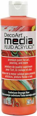DecoArt Media Fluid Acrylics Paint 8oz-Cadmium Orange Hue -DMFA8-15 • 10.81£