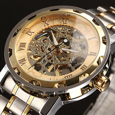 $ CDN19.20 • Buy Men Skeleton Numerals Hollow Dial Stainless Steel Band Mechanical Watch