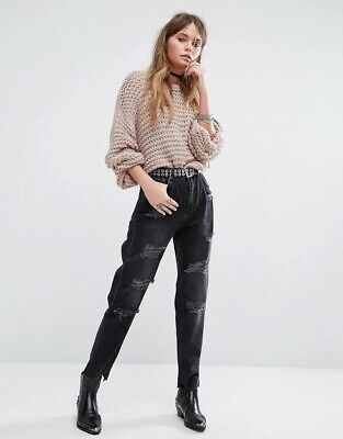 AU26 • Buy ASOS Pull&Bear Black Mom Mum Jeans Distressed Oversized Size 6 Pull And Bear