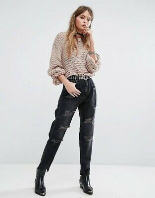 AU26.50 • Buy Pull&Bear Black Mom Mum Jeans Distressed Oversized Size 6 Pull And Bear ASOS