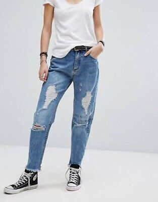 AU31 • Buy ASOS Pull&Bear Blue Mom Mum Jeans Distressed And Oversized Vintage Style Size 6