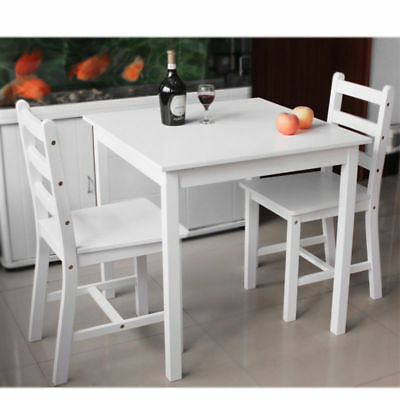 Small White Wooden Dining Table And 2 Chairs Set Kitchen Room • 76.99£