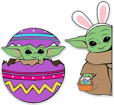 $11.99 • Buy Easter Decal For Family Decoration, Baby Yoda Bunny Window Sticker
