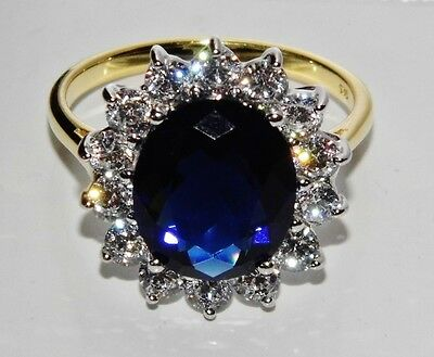 9ct Yellow Gold & Silver Blue Sapphire Princess Diana Large Cluster Ring Size M • 35£