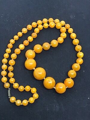 Antique Art Deco Butterscotch Amber Lucite Graduating Bead Necklace Hand Knotted • 79£