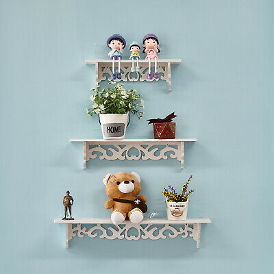 £7 • Buy 3PCS Wooden Floating Wall Mounted Shelf Display Filigree Storage Unit Home Décor