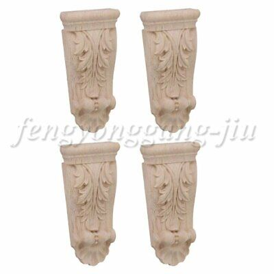 AU14.55 • Buy Wood Carved Unpainted Decal Corner Onlay Applique Door Wall Furniture Decor