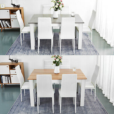 £187.99 • Buy Wooden Dining Table Set Oak With 6 Faux Leather Chairs Seat Kitchen Furniture